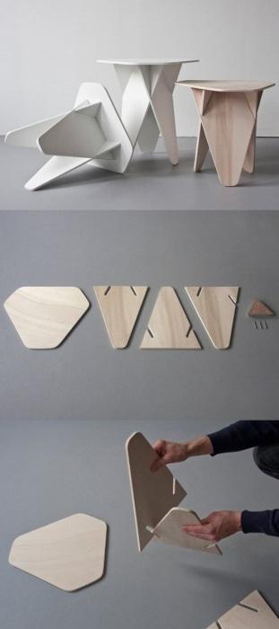 Очень устойчивая и нескучная деревянная табуретка необычной формы, которую легко можно сделать своими руками.