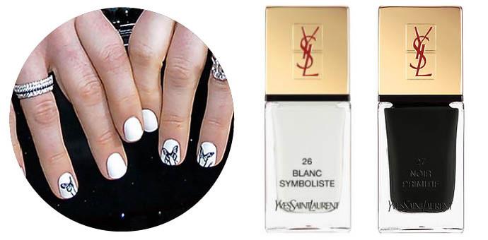 Маникюр Энн Хэтэуэй с бабочками; Лаки YSL Blanc Symboliste, YSL Noir Primitif