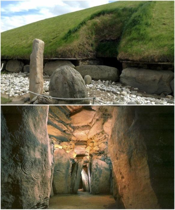Вход в Ньюгрейндж и загадочный коридор, ведущий к усыпальнице и алтарю («Королевское кладбище Бру-на-Бойн», Ирландия).   Фото: zen.yandex.ru.