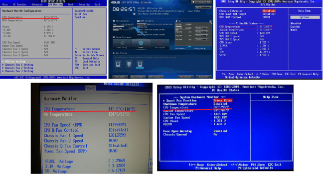 Рис. 7. Несколько примеров отображения температуры процессора в БИОС и UEFI.