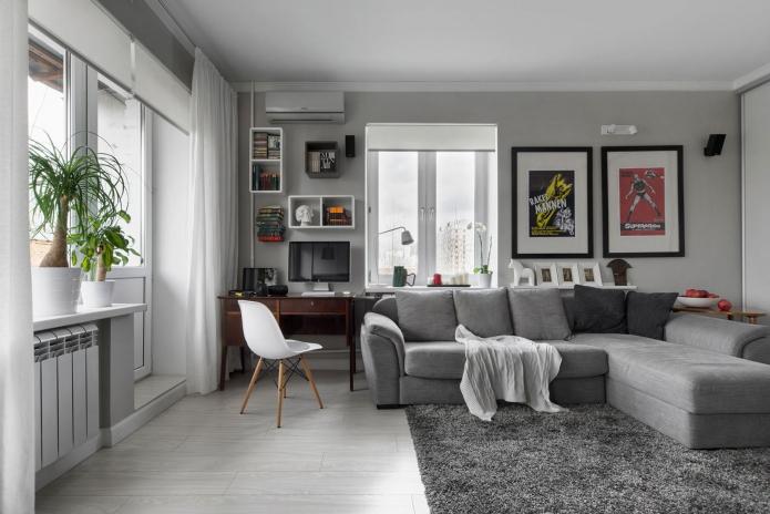Интерьер однокомнатной квартиры-студии 30 кв. м.
