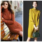 Тепло и практично: с чем носить платье-свитер