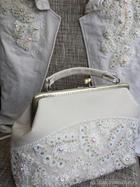 «Сверкающий Лёд»: украшаем жакет и сумочку кордовым кружевом, бисером и кристаллами