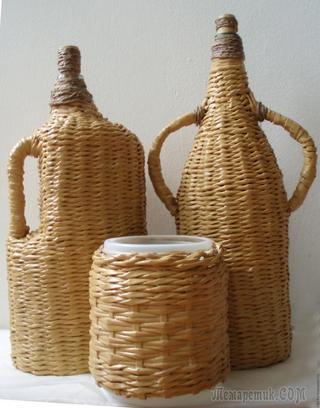 Оплетенный бутыль (Плетение из газет)