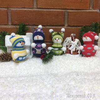 Изготовление новогодней игрушки «Снеговик» за час