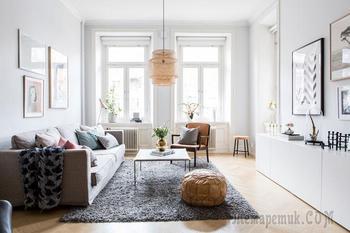 Нежный белый интерьер с пастельными нотками в Швеции