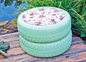 Как сделать садовый пуфик из подручного материала