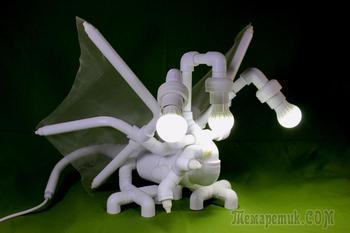 """Эксклюзивная лампа """"Белый Дракон"""" из пластиковых труб"""