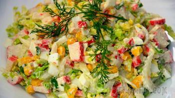 Салат из крабовых палочек и пекинской капусты. Быстро и Легко!