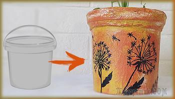 Цветочный горшок (кашпо) из пластикового ведерка | Декор цветочного горшка