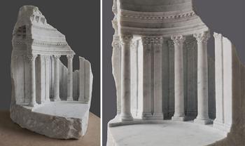 Миниатюрные архитектурные пространства, вырезанные из мрамора и камня