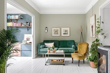 Пастель и зелень: квартира в нейтральных тонах в Осло