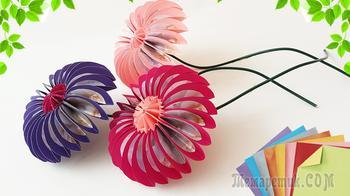 Делаем очень простые в изготовлении цветочки из бумаги в стиле оригами