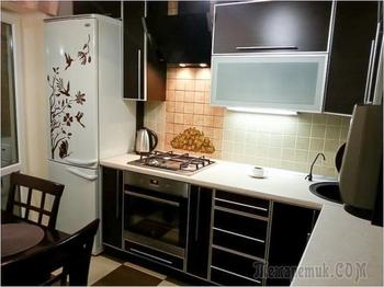 Контрастная кухня 8 кв.м. в современном стиле