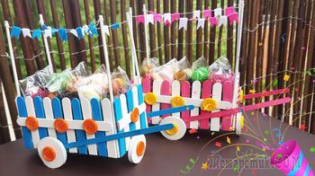 Мастерим тележку для сладостей из палочек от мороженого