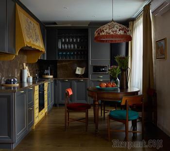 Дизайн квартиры: четыре комнаты, тёмные оттенки природы и много уюта