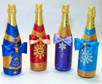 Как украсить шампанское к Новому году