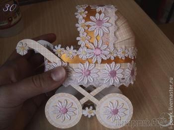 Подробный мастер-класс по изготовлению детской коляски из картона