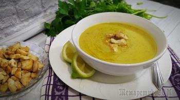 Суп пюре из красной чечевицы с курочкой
