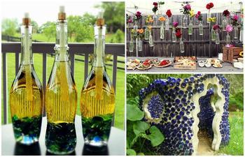 Поделки из стеклянных бутылок для вашей дачи