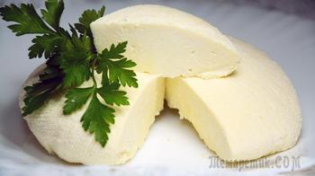 Сыр за 10 минут из молока + Время на стекание сыворотки