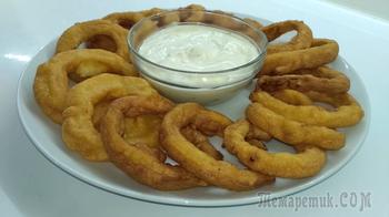 Пикантная закуска-луковые кольца в кляре