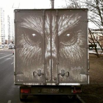 Прикольные рисунки на грязных машинах