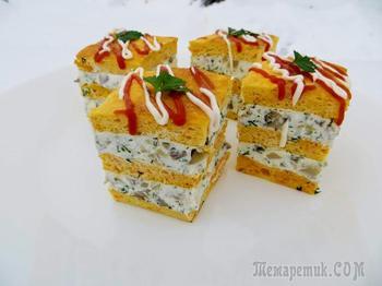 Закусочное пирожное с грибами и брынзой