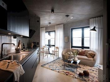 Неожиданный скандинавский интерьер с бетонными стенами