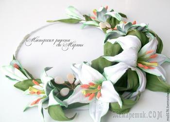 Создаем колье для невесты «Нежность лилий»