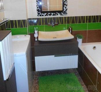 Галька, дерево и сочная травка в ванной комнате