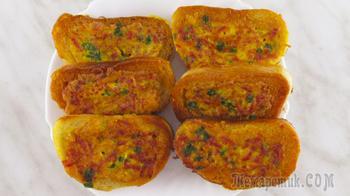 Горячие бутерброды на сковороде с колбасой, сыром и яйцами