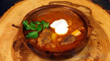 Мясо говядина тушеное с фасолью и овощами по-испански.