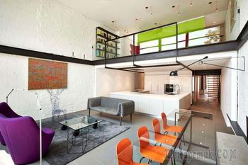 Яркий интерьер трехэтажного дома в Вашингтоне