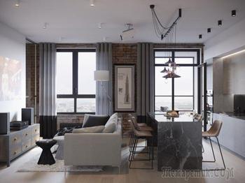 Современный дизайн двухкомнатной квартиры 63,7 кв. м.