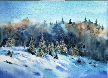 Зимний пейзаж в моей мастерской Акварель. Рабочий Процесс