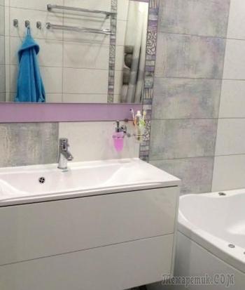 Ванная комната с витражной плиткой