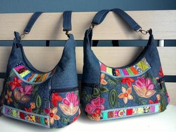 Стильная сумка в этническом стиле из старых джинсов