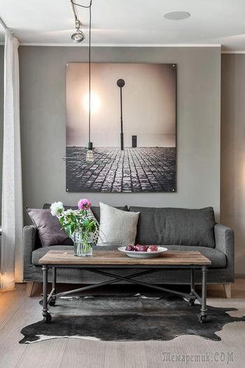 Сдержанный серый цвет в дизайне квартиры в Швеции