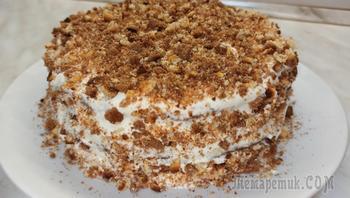 Быстрый торт на сгущёнке со сметанным кремом
