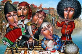 Любовная романтика с юмором и грузинским колоритом в наивной живописи Зураба Мартиашвили