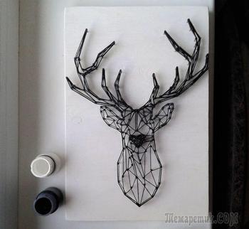 Создаем контурного оленя в технике String Art