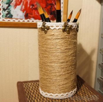 Как сделать стаканчик для ручек, карандашницу в стиле рустик