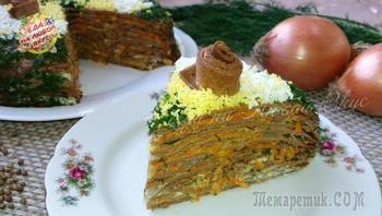 Закусочный торт «Праздничное настроение» с тонкими блинчиками