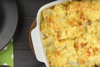 Нежная картофельаня запеканка со сливкамии курицей