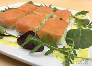 Закуска из картофеля, рикотты и красной рыбы
