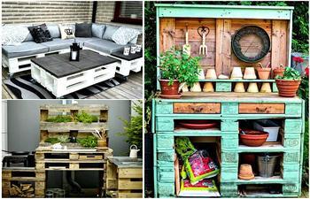 Оригинальная мебель и поделки для сада из поддонов