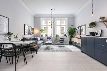 Квартира 37 кв.м. с большой кухней-гостиной и лампочками вместо светильников