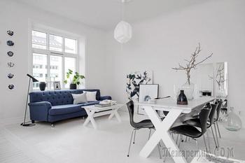 Скандинавский дизайн интерьера в белом цвете: квартира 59 кв. м. в Гётеборге