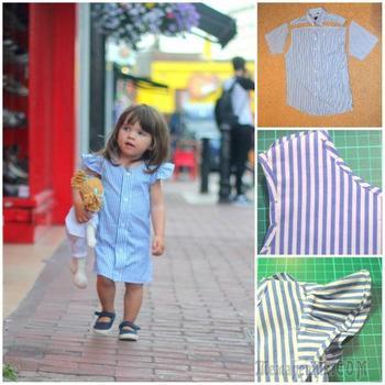 Превращаем старые рубашки в очаровательные летние платьица для девочки